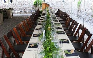 Guest table is set for a bbq event