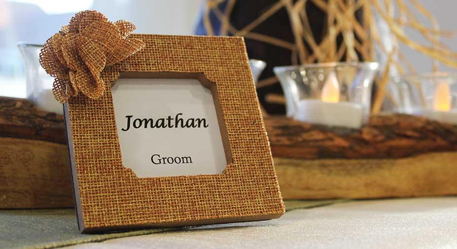 A photo frame saying Jonathan groom